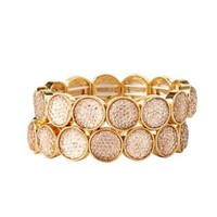 Jeweled Stretch Bracelets - 2 Pack by Charlotte Russe - Pale Peach