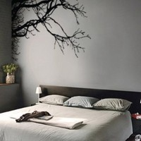 "Stickerbrand© Nature Vinyl Wall Art Tree Top Branches Wall Decal Sticker - Black, 44"" x 100"", Left to Right. Easy to Apply & Removable. Includes FREE Application Squeegee"