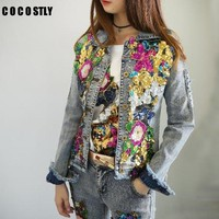 2018 Spring Jacket Women Denim Embroidery Rose Floral Beading Pearl Sequin Patch Epaulet Ripped Hole Bomber Denim Jacket
