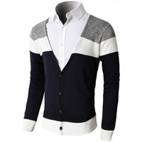 Doublju Men's V-Neck Cardigan Sweater With Three Color Combination (KMOCAL061)