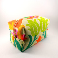 Bright Bohemian Floral Lined Makeup Bag with Metal Zipper, Gadget Case Pencil Case, Zippered, Cosmetics, For Her Under 20