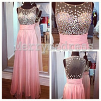 Beads Sheer Straps See-through A-Line Long Celebrity Dress, Floor length Chiffon Formal Evening Party Prom Dress New Homecoming Dress