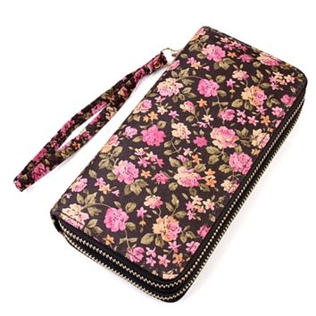 Brown Floral Thick Faux Leather Dual Side Wallet