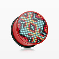 zzz-A Pair of Red Navajo Beads Single Flared Ear Gauge Plug
