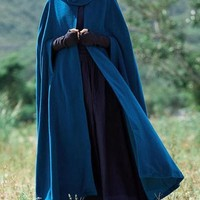 New Blue Patchwork Cut Out Hooded Sleeveless Casual Cloak Outerwear
