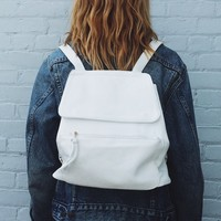 WHITE FAUX-LEATHER BACKPACK