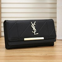 YSL Yves Saint laurent Women Fashion Leather Buckle Wallet Purse