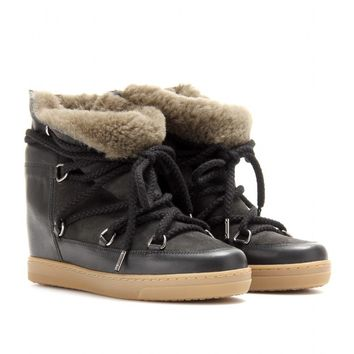 Nowles Shearling-Lined Leather And Suede Boots - Isabel Marant, Étoile ☼ mytheresa