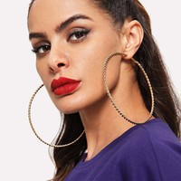 Spiral Design Oversize Hoop Earrings 1pair