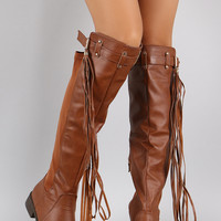 Lycra Buckle Tassel Round Toe Riding Knee High Boot