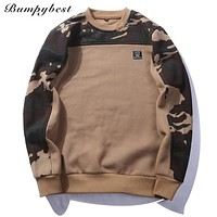 2017 Brand Patchwork Pullover Camouflage Sweatshirts Male O-Neck Slim Fit Knitting Mens Hoodies Man Pullover US size XXL WY09