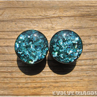 READY TO SHIP Teal Jewel Shard Plugs (Holographic) - 5/8, 16mm