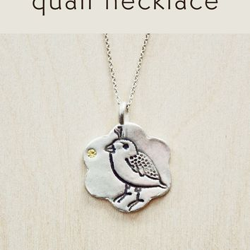 Birthstone Quail Necklace (Made to order)