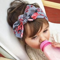 Cute Newborn Baby Cool Girls Printing Knot Elasticity Headband Cotton Children Girls Baby Hair Accessories