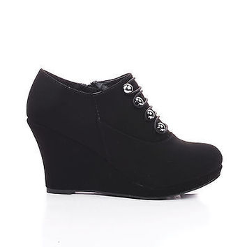 Vance7 Button Strappy High Wedge Heel Ankle Bootie