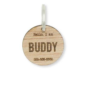 Custom Personalized Circle Hello Wood Pet Name Phone Number Identification Dog Tag Engraved Dog Collar