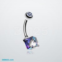 Prism Cube Box Belly Button Ring