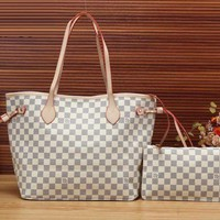 LV Louis Vuitton Women's Two-piece Leather Bag Cosmetic Bag Tote F