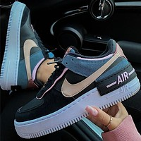 Nike Air Force 1 Shadow AF1 Black blue pink macarone board shoes