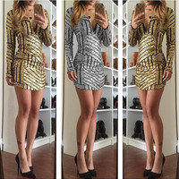Gold V-Neck Bodycon Mini Dress