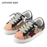 CCTWINS KIDS 2019 Toddler Baby Glittler Shoe Girl Star White Sneaker Boy Sport Shoe Kid Child Causal Trainer Sequin Flat F1550