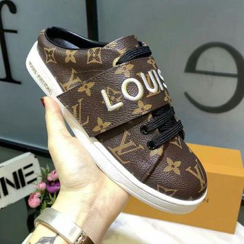 LV Louis Vuitton Fashion Women Casual Leather Sport Shoes Slippers Coffee
