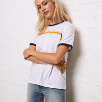 Don't Ask Why Ringer Graphic Tee, White