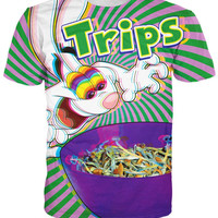 women Trips Aren't For Kids T-Shirt Rabbit trades in his cereal for shrooms 3D print T-shirts Hip Hop Tee summer funny tee