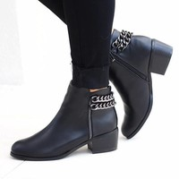 Chain Back Ankle Bootie