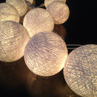 Cotton ball string lights for home decor,party decor,wedding patio,20 pieces indoor string lights bedroom fairy lights white tone