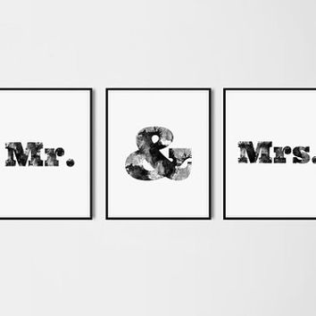 Mr and Mrs Poster Set Bedroom Art Watercolor Ampersand Print Marriage Anniversary Wedding Gift Couple Modern Wall decor Black and white Art