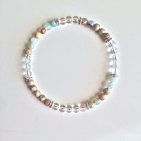 Inner Peace & Meditation ~ Genuine Colorful Serpentine and Crystal Quartz Bracelet w/ Sterling Silver Accents ~ 4mm Stones