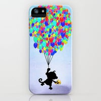 Up   Funny Cute Monkey Up in the Air with Bright Balloons iPhone & iPod Case by Girly Trend