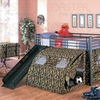 Coaster Kid's GI Child Bunk Bed with Slide and Tent, Twin Size