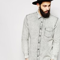 Cheap Monday Denim Shirt Black Ice Wash