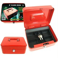Stalwart  8 Inch Key Lock Red Cash Box with Coin Tray