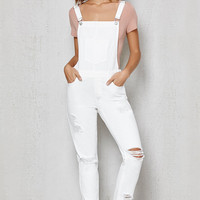 PacSun White Ripped Skinny Overalls at PacSun.com