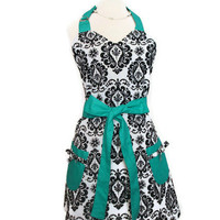 Retro Apron - Black and White Damask Apron with Teal Ties - Full Hostess Reversible Sweetheart Apron for women