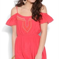 Off the Shoulder Dress with with Embroidered Bodice