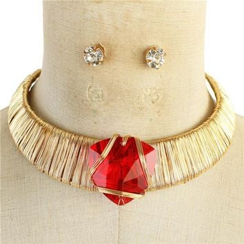 """14"""" gold red crystal wire wrap necklace .50"""" earrings"""