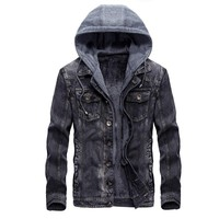 Trendy Fashion Mens Warm Denim Jackets Hooded Fleece Lined Jeans Jacket Detachable Coats AT_94_13