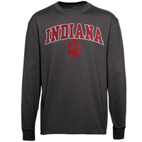 Indiana Hoosiers New Agenda Midsize Arch Over Mascot Long Sleeve T-Shirt - Charcoal