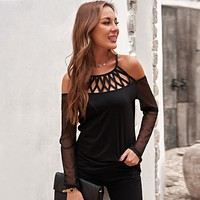 Solid Color Hollow Out V-neck Long Sleeve Shirt Top Tee