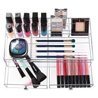 mDesign Cosmetic Organizer for Vanity Cabinet to Hold Makeup, Beauty Products - 2 Drawers, Wide, Clear