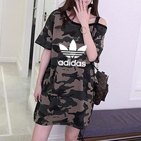 """Adidas"" Fashion Casual Camouflage Print Bare Shoulder Short Sleeve Medium Long Section T-shirt Mini Dress"