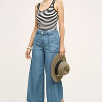 Level 99 Chambray Crop Wide Legs in Azure Size: