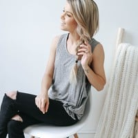 Knot It Up Tank - Charcoal