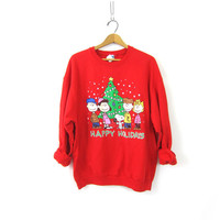 PEANUTS Christmas sweatshirt 1980s tacky vintage Xmas sweater RED Ugly Party sweater Snoopy Charlie Brown Linus Novelty Sweater size XL