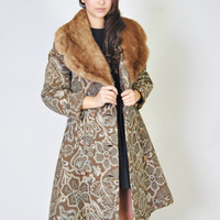 Vintage Tapestry Coat 60s Mink Fur Collar Tapestry Floral Trench Brocade Jacket Coat S M