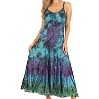Sakkas Adela Women's Tie Dye Embroidered Adjustable Spaghetti Straps Long Dress